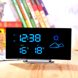 $enCountryForm.capitalKeyWord Australia - LED Alarm Clock Weather Forecast FM Radio Snooze FunctionArc Shape Digital Temperature Display Home Decoration Desk Table Clock