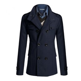 Wholesale mens peacoat jacket for sale - Group buy Autumn Winter Mens Slim Fit Long Coat Warm Double Breasted Peacoat Coat Jacket four colors Men s Trench Coats