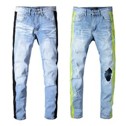 China Sneakers MIRI Wholesale Blue Pants Jeans Designer 350 Pants Straight Biker Skinny Loophole Jeans Men Women hole jeans suppliers