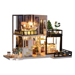 Discount diy dollhouse led lights 1 20 Wood LED Lights Romantic Dollhouse DIY Modern House Puzzles Kit Toy