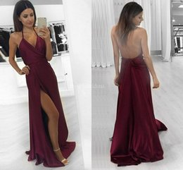 Halter HigH neck satin dress online shopping - Sexy Burgundy Prom Dresses Halter Backless High Side Split Sweep Train Modern Party Evening Gowns A Line Special Occasion Dress Vestido
