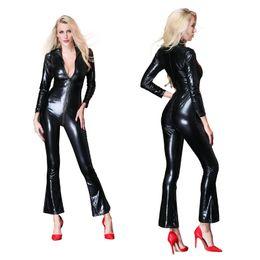 Black Leather Jumpsuits Women Australia - New Arrival Women Black PU Leather Catsuit Wetlook Jumpsuit Front Zipper Open Crotch Elastic Bodysuit Fetish Party Clubwear