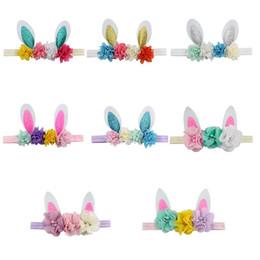 Girls head flowers online shopping - Baby Headbands Girls Rabbit ears Headband cartoon Easter bunny hairbands Flower Head bands Cute Hair Accessories C6085