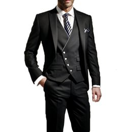 charcoal tuxedo for men Canada - Charcoal Custom Italian Man Wedding Suits Jacket+Pants+Vest Slim Fit 3 Pieces Groom Tuxedo Suits for Wedding Party Suit