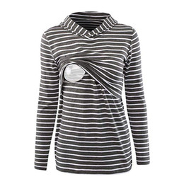 b32d361a1ae Umstandsmode Hoodie Long Sleeves Striped Tops Breastfeeding Sweatshirt ropa  de mujer pregnancy maternity clothes