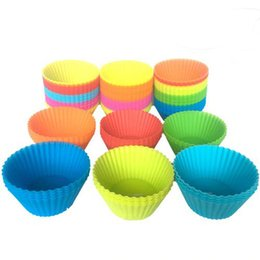 Cupcake Muffins Cake Australia - New Silicone Cupcake Liners Mold Muffin Cases Round Shape Cup Cake Tools Bakeware Baking Pastry Tools Cake Mold