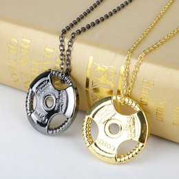 Necklaces Pendants Australia - Dumbbell Pendant Necklace Stainless Steel Chain Weight Plate Barbell Necklace Men Women Gym Hippie Motivation Hip Hop Jewelry