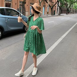 short strapless chiffon draped dress UK - Floral dress woman 2020 new summer French waist show thin temperament fashion hepburn style small skirt