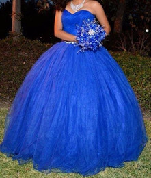 Big Bead Red Coral Australia - Royal Blue Quinceanera Dresses 2019 Modest Sweet 16 Ball Gown Pleats Big Bow Prom Gowns Tulle Lace Up Birthday Party Vestidos De 15