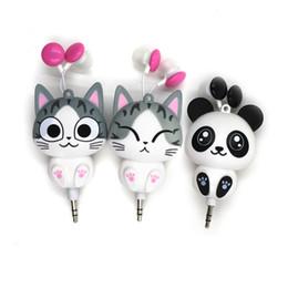 Clip Headphones For Iphone NZ - 3.5 mm Wired Retractable In-Ear Headset Cartoon Cat Panda Earpiece Clip Headset MP3 Headphone For iphone 6 6s 7s Samsung Xiaomi