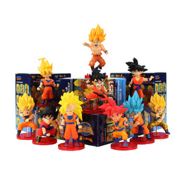 $enCountryForm.capitalKeyWord UK - 10pcs lot Dragon Ball Z Goku Figure Toy Son Goku Super Saiyan God Blue WCF Childhood Model Toy Anime Children Gift Y190529