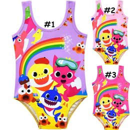 2474fbb340 Kids Cartoon Bikini Baby Shark Printed Sleeveless One Piece Swimwear Summer  Beach Bathing Suit Beachwear OOA6818