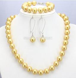 $enCountryForm.capitalKeyWord Australia - Shining Christmas Gifts Women Girls 10mm Yellow Glass Round Pearl Beads Necklace Bracelet Earrings Sets Jewelry Making Design