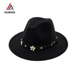db6f2bc4db9833 QIUBOSS European US Classic Wool Felt Fedora Trilby Hats Wide Brim Hat  Autumn Winter Women Jazz Formal Cap Casual Gambler Hat