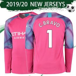 Discount sports shirts long sleeve - Long Sleeve City Goalkeeper Soccer Jersey 2019 20 City Red Short Sleeve Football Shirt 2020 #1 C.BRAVO Sports Uniforms S