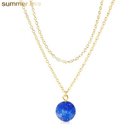 elegant stone designs 2019 - New Design Resin Stone Druzy Necklaces Double Chain Gold Plated Geometry Stone Pendant Necklace For Elegant Women Girls
