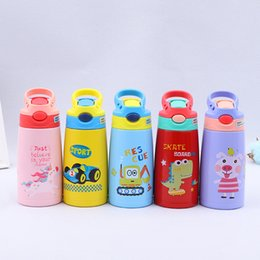 72350ecd1 350ml Cartoon Children Water bottle with straw lid 316 Stainless Steel Kids  Insulated Sippy Cup Portable Drinking bottle kettle for student