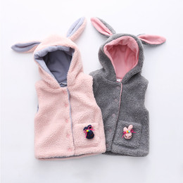 wholesale corduroy hats Australia - Girls Outwear&Coats 2018 Winter Warm New Fashion 2-6 7 8 9 10 Years Animal Ear Hat Corduroy Coat For Kids Baby Girl Hooded Vests