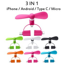 micro fans Australia - Colorful 3 IN 1 Mini USB Fan Cooler for Android Type C Micro iPhone Mobile Phone USB Portable 2 in 1 Solf Fan Cellphone Cooling