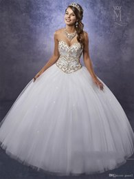 Pear Color Dress Australia - White Ball Gown Quinceanera Dresses with Gold Beads Embellishments Free Bolero Beading Tulle Beautiful Sweet 15 16 Dress