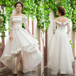 68c86459d42d New Vintage Style High Low Wedding Dresses Illusion Sleeves Off Shoulder  Flower Belt Lace Top Short Front Long Back Cheap Puffy Bridal Gowns