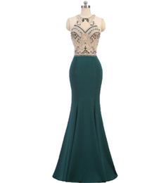 $enCountryForm.capitalKeyWord NZ - Luxury Hunter Green Evening Dresses Jewel Neck Sleeveless Mermaid Beaded Formal Red Carpet Celebrities Prom Party Dress robes de soirée