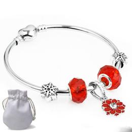$enCountryForm.capitalKeyWord Australia - DIY Gift Charms Bracelets Fit Pandora Ladies Red Crystal Glass Beads Bangle Flower Pendant Silver Snowflake Jewelry Birthday Present