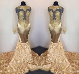 stunning short sleeve evening dress Canada - Stunning Champagne Gold 3D Lace Flowers Prom Dresses Vintage Long Sleeve Sheer Applique Mermaid Ruched Long Evening Gowns
