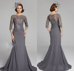 $enCountryForm.capitalKeyWord Australia - Chic Plus Size Mother Of The Bride Dresses Half Sleeves Jewel Neck Empire Waist Mother Of Groom Dress Chiffon Mermaid Evening Gowns