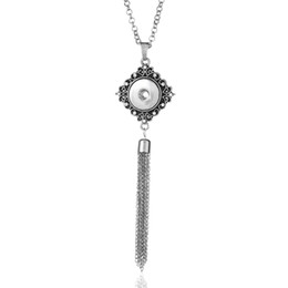 $enCountryForm.capitalKeyWord Australia - New Snap Jewelry Tassel Necklace Crystal Snap Button Necklace with Chains Fit 18mm Snap Buttons DIY Necklaces Accessories