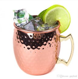 $enCountryForm.capitalKeyWord NZ - Moscow Mule Mug Stainless Steel Hammered Copper Mug for Beer Ice Coffee Tea Plating Hammered Drum Cocktail Drink Cups 240pcs