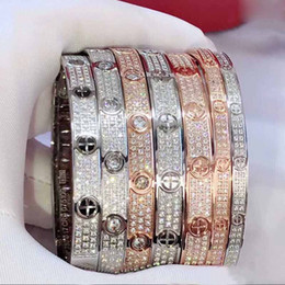 $enCountryForm.capitalKeyWord Australia - luxury designer Titanium steel Bracelets Bangles full diamond 18K rose gold Womens men lover's bangle fashion Jewelry accessory