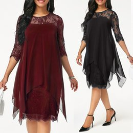 Wholesale Plus Size Chiffon Dresses Women New Fashion Chiffon Overlay Three Quarter Sleeve Stitching Irregular Hem Lace Dress