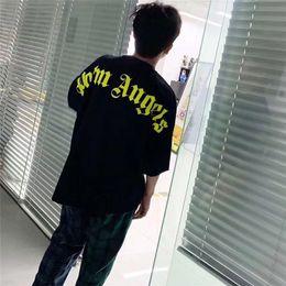 $enCountryForm.capitalKeyWord Australia - Palm Angels T Shirt Fluorescent Green Letter Best Quality Palm Angels Top Tees Men Women Palm Angels T-shirts