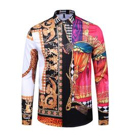 Batik dress design online shopping - True Reveler nightclub shirts design men long sleeve fashion flower colorfur blouse D leopard tiger shirt angel panther tops