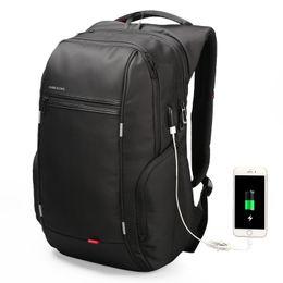 Crystal Diamond Fabrics UK - Travel Bag Men Backpack with USB Charging Laptop Bag Super Big back pack for men computer PU leather bag large capacity 2018