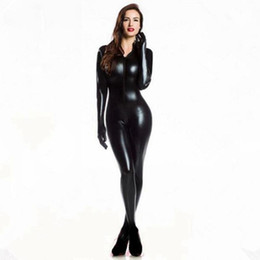 Wholesale sexy catwoman costume lingerie for sale - Group buy Women Sexy Wetlook PVC Latex lingerie bodysuit With gloves Open Crotch Clubwear fetish Catwoman Faux Leather catsuit costumes