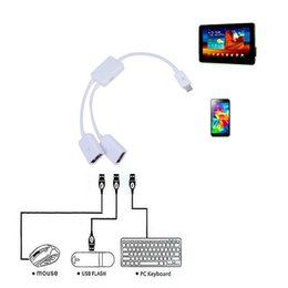 android phone otg NZ - Micro USB Host Cable Male to 2x Type Dual USB Female OTG Adapter Converter Hub For Android Tablet PC Phone Mouse