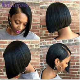 Brazilian hairstyles middle part online shopping - Beaudiva Short Straight Bob Wigs With Baby Hair Middle Part Malaysian Hair Wigs Hair For Black Women