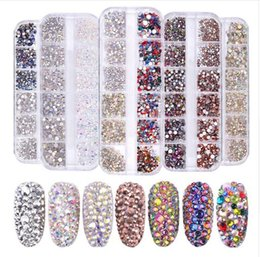 flat back acrylic decoration Australia - 1 Box Multi Size Glass Rhinestones Mixed Colors Flat-back AB Crystal Strass 3D Charm Gems DIY Manicure Nail Art Decorations