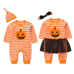 Toddlers bouTique online shopping - New design newborn romper long sleeve pumpkin printed jumpsuit with hat boutique toddler Halloween climbing clothes