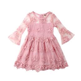 $enCountryForm.capitalKeyWord Australia - Summer 2019 New Style Toddler Kid Baby Girl Cute Flower Wedding Bridesmaid Pink Long Sleeve Dress Princess Party Lace Tutu Dress