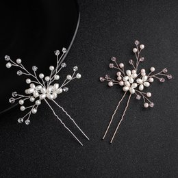 Hair For Weddings Hairstyles NZ - Fashion Crystal Peals Women Hairpins Wedding Hair Accessories Handmade Headpieces for Bridal Hairstyle JCF034