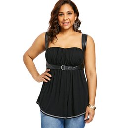 0bb0cf6e660 Wipalo Empire Waist Curvy Tank Top Leather Patchwork Halter Belt Ruched  Women Summer Cropped Tops Beach Camis Plus Size 5XL
