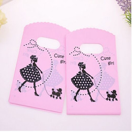 wholesale pink gift bags UK - Wholesale 500pcs lot 9*15cm Pink Mini Plastic Shopping Bags With Cute Girl Birthday Gift Packaging Bags