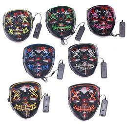 $enCountryForm.capitalKeyWord Australia - Halloween EL Wire Ghost Mask Slit Mouth Light Up Glowing LED Mask festival kids Cosplay flashlight Masks Party decoration Masks costumes