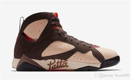 Mink Shoes Australia - 2019 Release Authentic Patta x Air 7 OG SP Shimmer Retro Tough Red MAHOGANY MINK VELVET BROWN AT3375-200 Men Basketball Shoes With Box