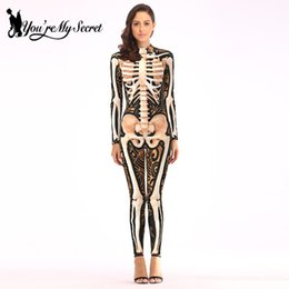 Fantastic costume women online shopping - You re My Secret Hot Halloween Festival Skeleton Cosplay Costume for Women Fantastic Long Sleeve Party Jumpsuit Bodysuit