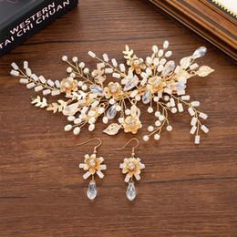 bride tiara jewelry sets 2019 - Pearl Rhinestone Crystal Hair Pins Drop Earrings Sets Bride Noiva Hairpins Tiaras Hair Accessories Bridal Wedding Jewelr