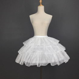 White Short Petticoat Australia - Sweet 3 Hoops Lolita Petticoat Puffy Short 3-way Underskirt Cosplay Pettiskirt for Adult